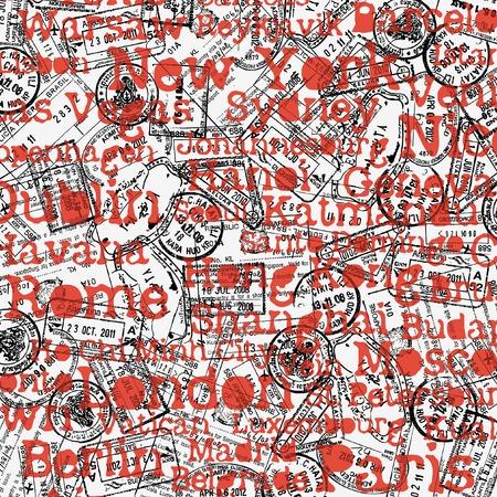 stamp: Viajes de fondo con sellos y ciudades nombres