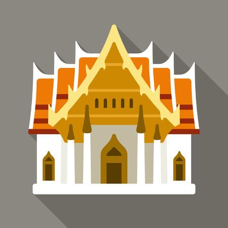 Thai temple vector icon Illustration