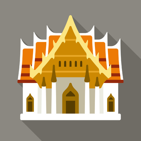 place of worship: Thai temple vector icon Illustration