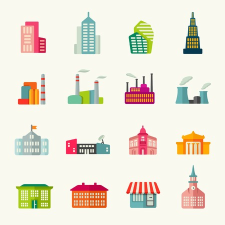 edificios: Edificios conjunto de iconos