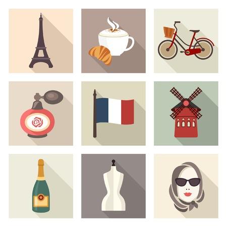 rouge: France icons Illustration