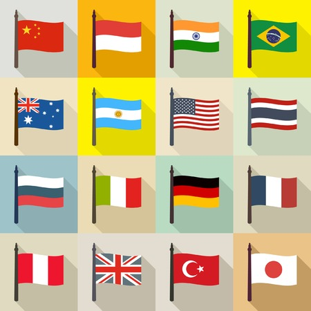 International theme background with flags
