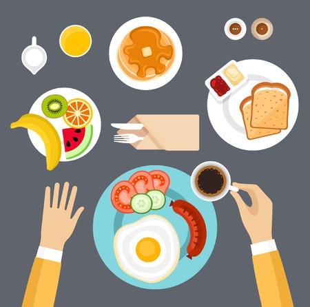 Śniadanie zestaw. Ilustracje wektorowe