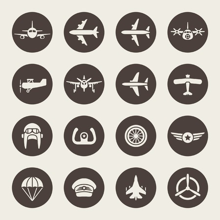 pilot wings: Aviation icon set