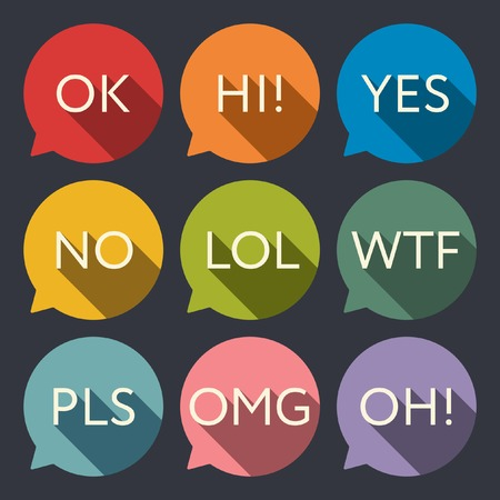 acronyms: Speech bubble with acronyms icon set