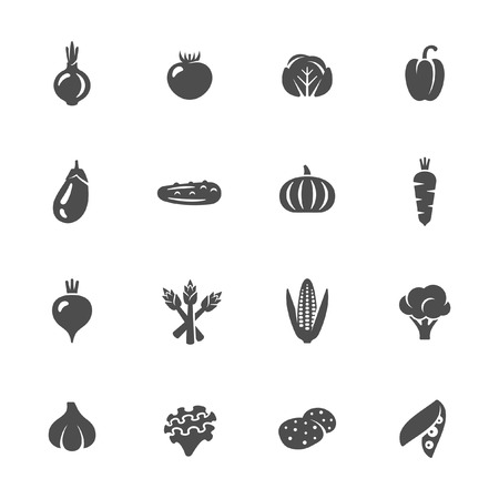 Vegetables icon set Illustration