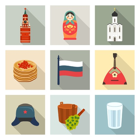 russian cuisine: Russian theme icon set Illustration