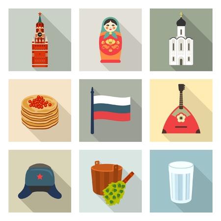 russian food: Russian theme icon set Illustration