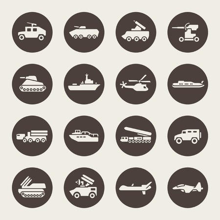 military aircraft: Military icon set