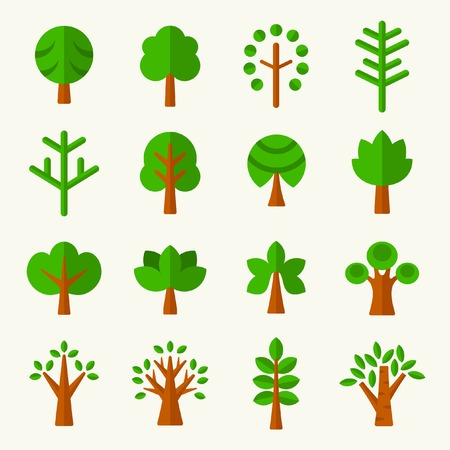 summer camp: Trees icon set