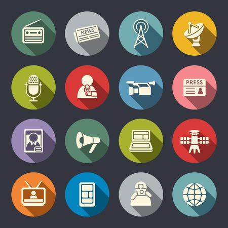 Mass media set di icone