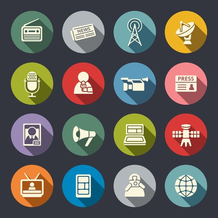 Mass media icon set