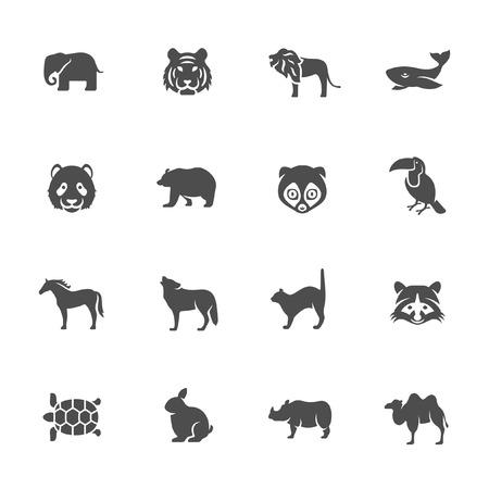 silueta tigre: Conjunto de iconos de animales Vectores