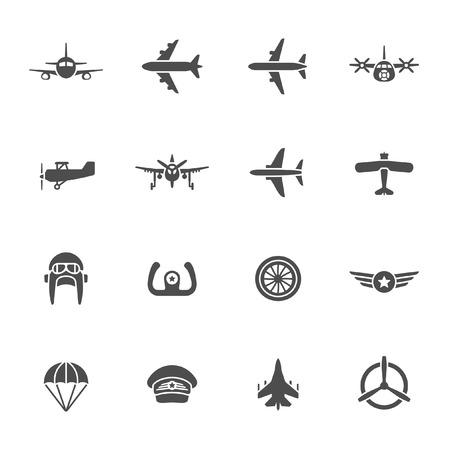 航空のアイコンを設定  イラスト・ベクター素材