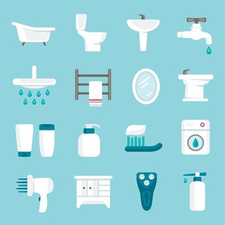 Bathroom icon set Illustration