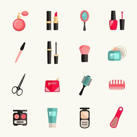아름다움: 아름다움과 메이크업 아이콘 세트
