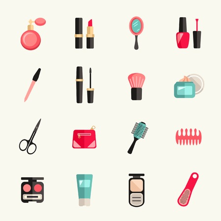 woman in mirror: Beauty and makeup icon set