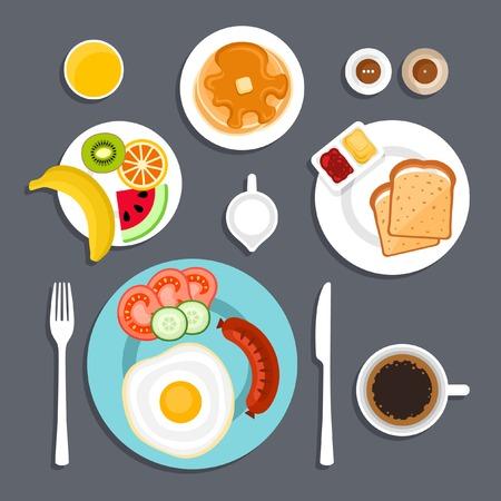 朝食セットの平面ベクトル図  イラスト・ベクター素材