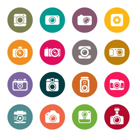 film camera: Camera icon set Illustration