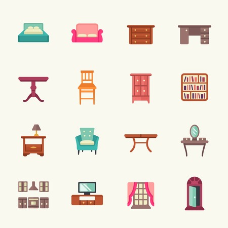 hotel suite: furniture icon set Illustration