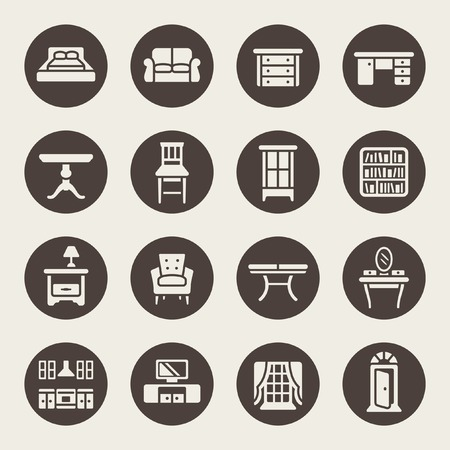 lounge room: furniture icon set Illustration