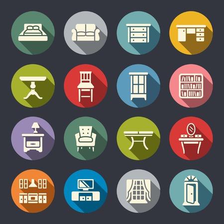 furniture icon set Vettoriali
