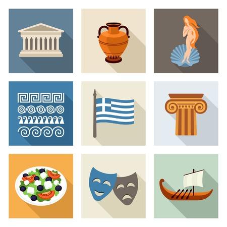 Griekenland pictogrammen Stock Illustratie