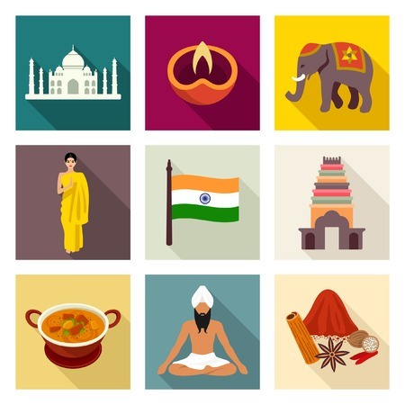 monument in india: India icon set Illustration