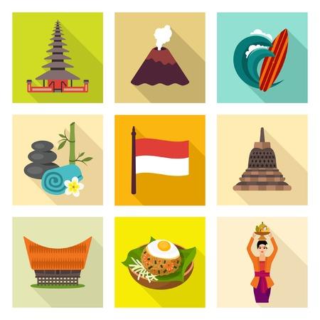 indonesisch: Indonesië icon set Stock Illustratie