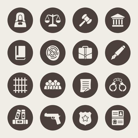 jurado: icono de ley conjunto Vectores