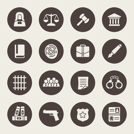 court judge: law icon set