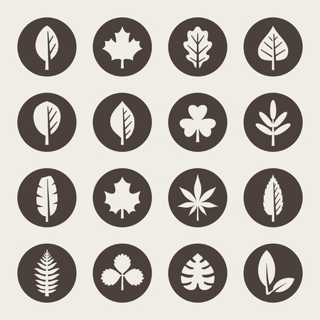 recycle symbol vector: Leaf icon set Illustration