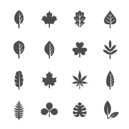 shamrock: Leaf icon set Illustration