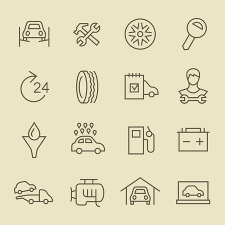 tire shop: Car service line icon set