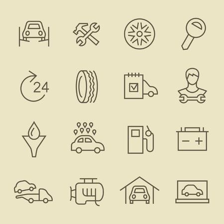 dibujos lineales: Servicio de coche icono de l�nea de set Vectores