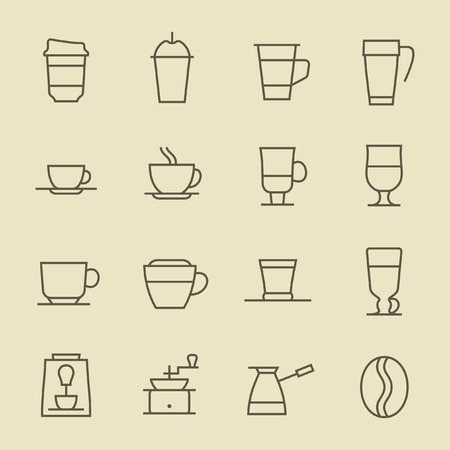 drinking coffee: Coffee line icon set Illustration