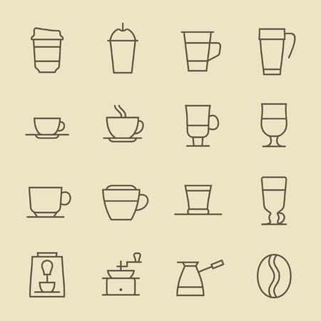 Coffee line icon set Çizim