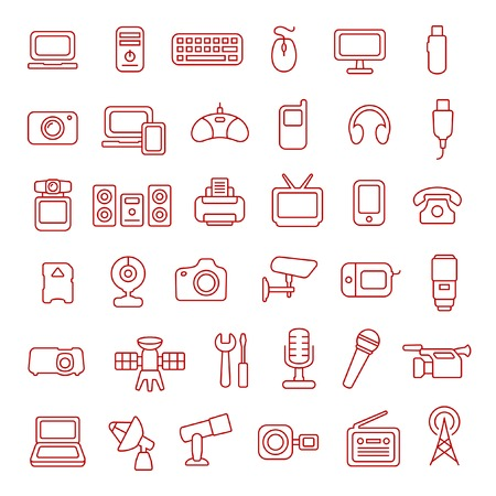 portable console: Gadgets line icon set