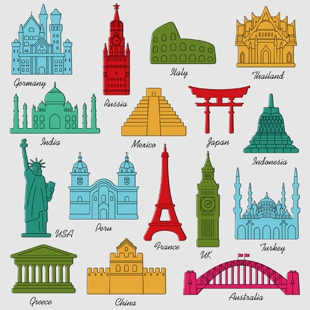 great wall: Travel landmarks colorful linear icon set