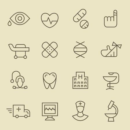 ojos marrones: L�nea de M�dico conjunto de iconos Vectores