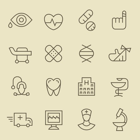 menu icon: Medical line icon set