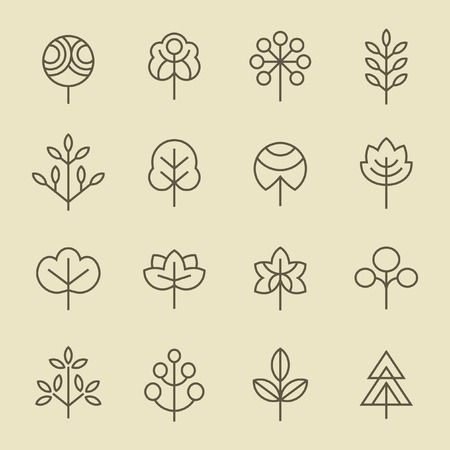green lines: Trees line icon set Illustration