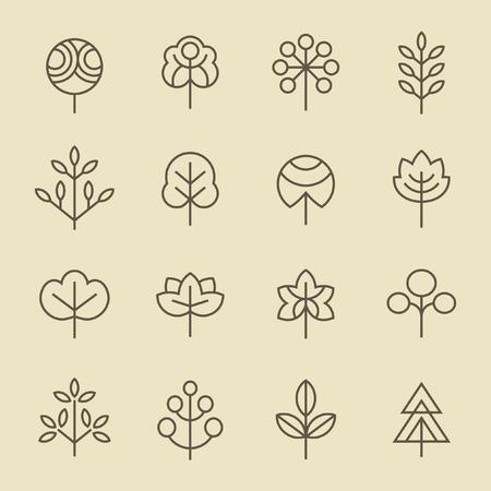 ecology icons: Trees line icon set Illustration