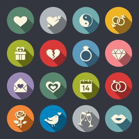 love declarations: Love marriage engagement and Valentin39s day icon set