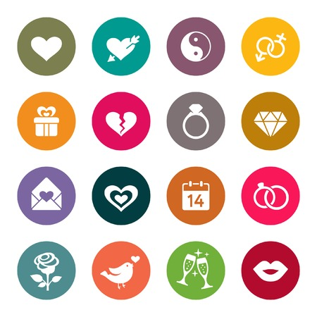 glass heart: Love marriage engagement and Valentin39s day icon set