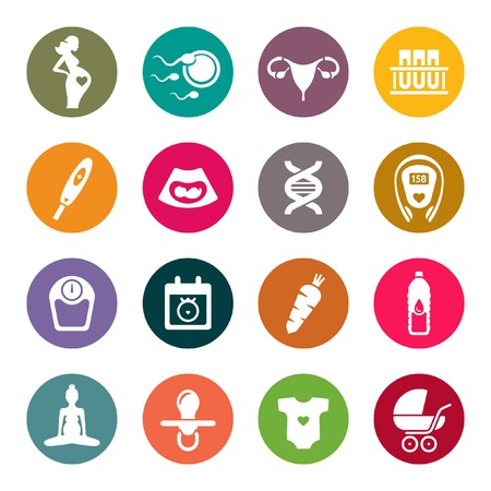 uterus: Pregnancy icon set