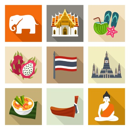 siluetas de elefantes: Iconos Tailandia