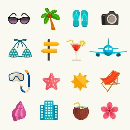 bikini island: Summer vacations icon set
