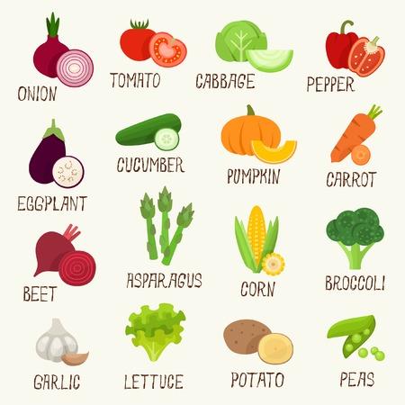 ajo: Conjunto de icono de verduras Vectores
