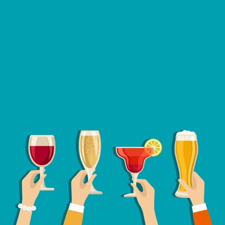 Cheers hands vector poster with place for text